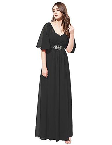 Dresstells Robe de cérémonie Robe de soirée en mousseline forme princesse longueur ras du sol Noir