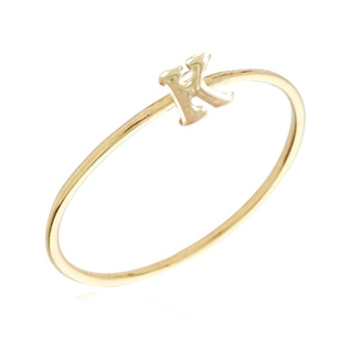 Gold Plated Stackable Initial Letter Ring Size 7, Letter K