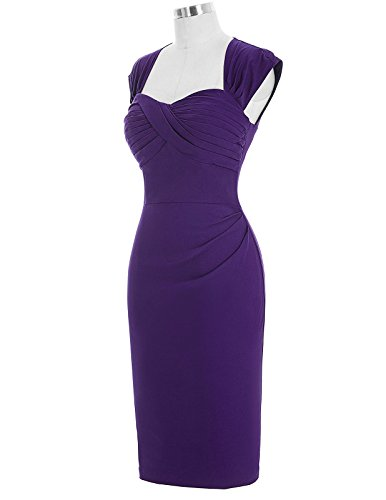 Belle Poque 1950er Style Vintage Kleid Elegant Etuikleid Knielang Festliche Kleider Lila