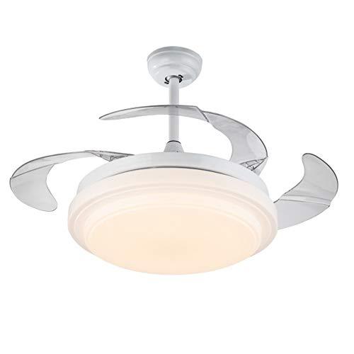 XHJJDJ Drei-Farben-Dimmen Fan Chandelier 42-Zoll-Satin-Chrom-Deckenventilator, Licht Kit mit Opal Mattglas, Fernbedienung inklusive (Farbe : Weiß) -