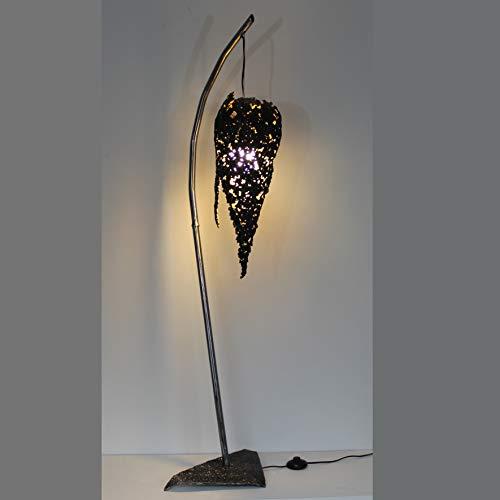 Stehleuchte Flamme design- Leuchte Flamme Stahlspitze und Blattgold Skulptur P. Buil