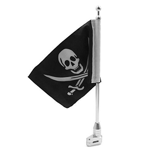 sourcing map 26cm X 17cm Bandera Pirata de Montaje Lateral Trasera Mástil para la Moto