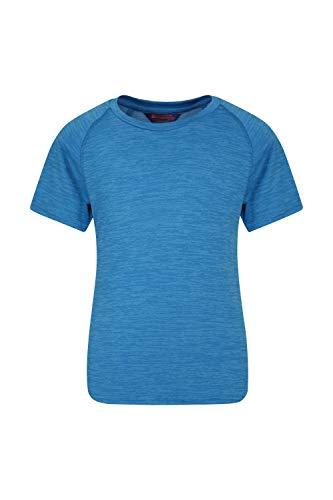 Mountain Warehouse Plain Field Kinder-T-Shirt - Leicht, atmungsaktives Sommer-Kinder-T-Shirt, feuchtigkeitsregulierend, pflegeleicht, Freizeitoberteil - Ideal für Reisen Kobalt 152 (11-12 Jahre) -