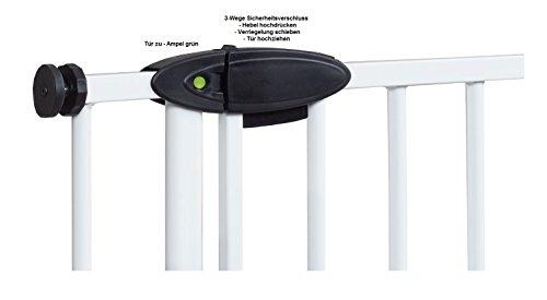 Impag Türschutzgitter Treppenschutzgitter mit Ampelfunktion 73 – 222 cm zum Klemmen Traffic Light + 30 Weiß - 3