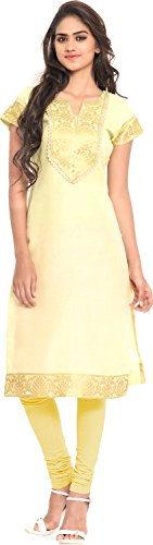 Twinkal Women's Chanderi Silk Straight Kurta / Kurti (TWKR0250_L, Yellow, L)  available at amazon for Rs.690
