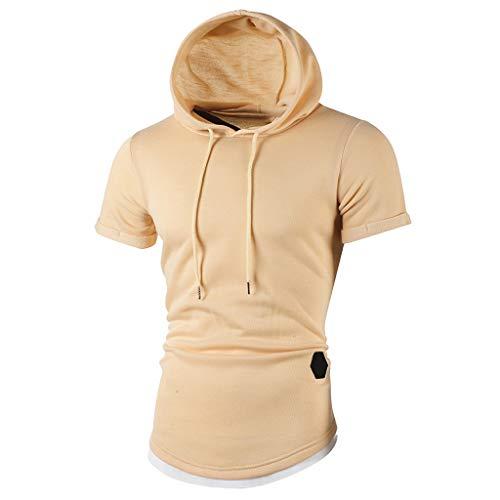 Bluse Passend (Herren Pullover Hoodies Sweatshirt Neu-Männer Rundhals Slim Fit Einfarbig Sport Casual Hoodie Kurzarm T-Shirt Bluse Passende Kurzarm-Hoodie-Spitzenbluse Funktionelle Casual Bekleidung)