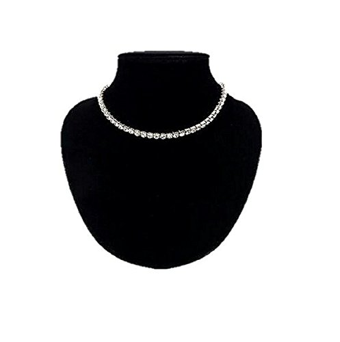 Next World Collections Crystal Diamante Rhinestone Necklace Silver Wedding Party Single Line Choker For Women