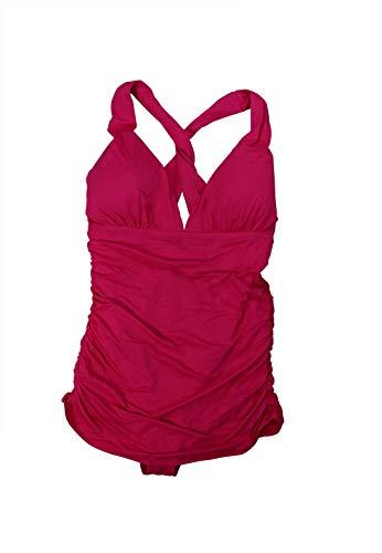 Ralph Lauren Badeanzug, Übergröße, gekreuzter Rücken - rosa - 16W
