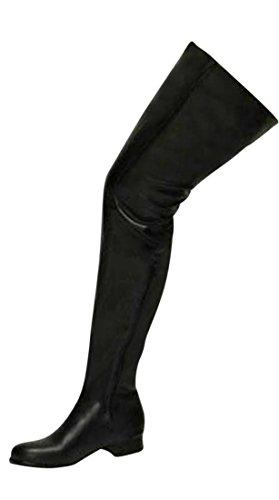 EROGANCE 3 cm Blockabsatz Stiefel Kunstleder Overknees Schwarz EU 42 - 46 / A3604 Black