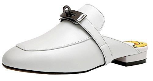 Calaier Femme Ca 1.5CM Bloc Glisser Sur Mules et sabots Chaussures Blanc