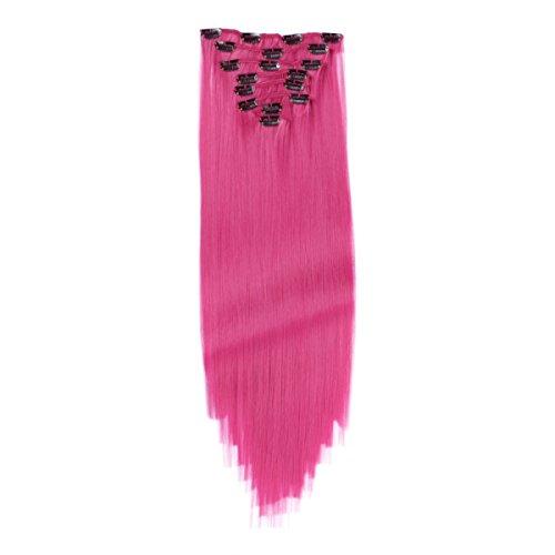Clip-In Hair Extensions - #Violett - 60 cm - Gewellt - 8 Tressen mit 18 Clips - Haarverlängerung XXL Komplett-SET - 140g - Kanekalon synthetisches Haar mit sehr hoher Qualität