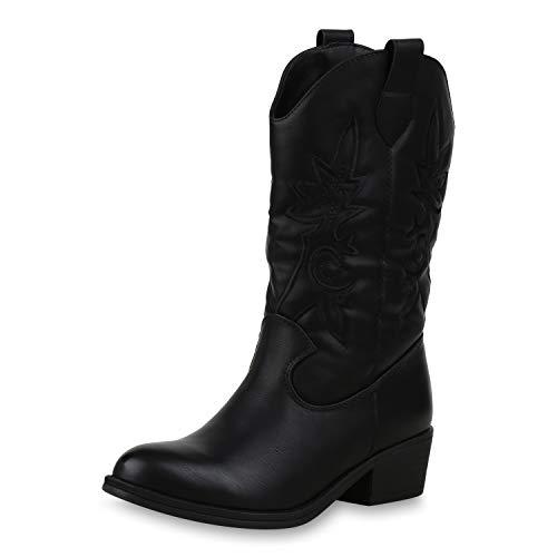 SCARPE VITA Damen Cowboystiefel Gefütterte Western Stiefel Cowboy Boots 173457 Schwarz 37 (Leder Damen Stiefel Cowboy Schwarz)
