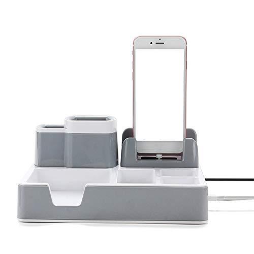 KKLTE Desk Organizer Desktop Organisations-System Mit 3 USB-Ports und Ladefunktion, Passt iPhone, Samsung und Andere Smartphones Von Bis Zu 4 Zoll (Grau)
