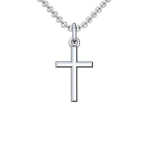 Silberkreuz mit Kette Taufkette Kreuz Kreuz Kette Anhänger Silber 925 Taufgeschenke Taufschmuck für Junge Mädchen Damen Frau Herren Religiöser Schmuck Christliche Ketten FF05-3 SS92545