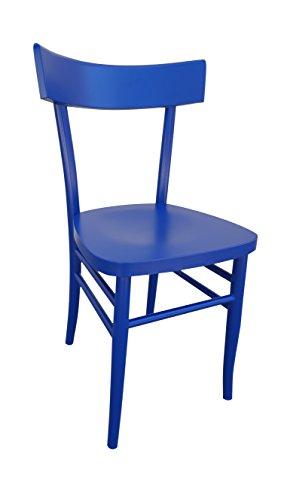 Okaffarefatto maddaloni sedia in legno nuova gia' montata modello milano vintage (blu)