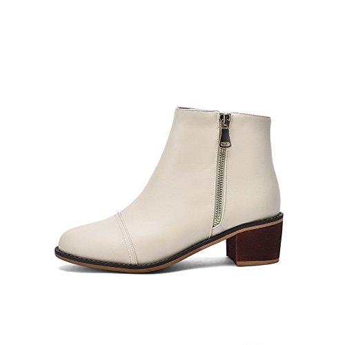 AgooLar Damen Mittler Absatz Flaum Futter Rein Reißverschluss Rund Zehe Stiefel, Aprikosen Farbe, 38