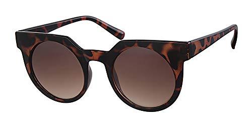 Retro Runde Schildkröte braun Rahmen Sonnenbrille, mit gratis gelb Hals Kordel, Metall-Scharnier, braun Objektiv