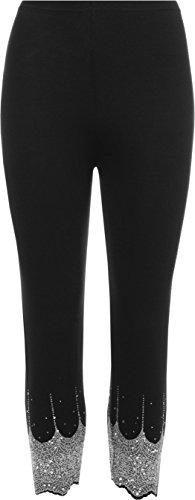 Womens Sequin Leggings Stretch Elastische Silber Gold Hose Größen 40 - 54 (M/L (EUR 40-42), Schwarzes Silber) (Schwarz Und Gold-leggings)