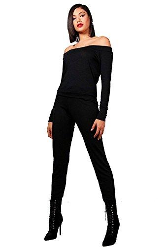 Noir Femmes cara ensemble haut-pantalon bardot confort Noir