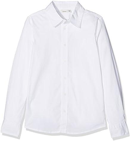 NAME IT Nitfred Ls Slim Shirt M Nmt Noos, Chemise Garçon, Blanc (Bright White), 152 (Taille Fabricant: 146/152)