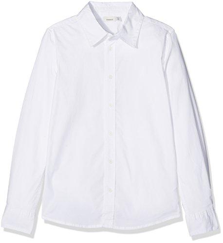 NAME IT Jungen NITFRED LS Slim Shirt M NMT NOOS Hemd, Weiß (Weiß Bright White), 134 (Herstellergröße: 134/140)
