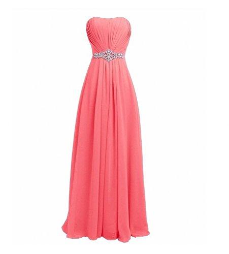 Royaldress 2017 Neu Gruen Traegerlos Chiffon Langes Abendkleider Brautjungfernkleider Partykleider A-linie Rock Wassermelon