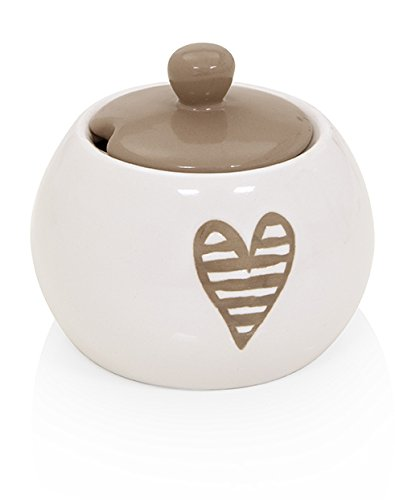 Brandani 55677 Heartbeat Gris tourterelle Bol à sucre en céramique, multicolore