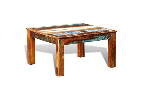 Reclaimed Wood Coffee Table Antique Style Square Leg