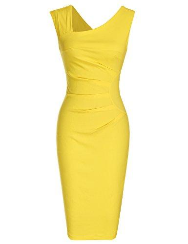 MUXXN Damen Bleistiftkleid V-Ausschnitt Etuikleid Ärmellos Knielang Retro Abendkleid Business Kleid(XL, Yellow) Abendkleid Gelb