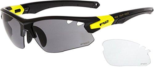 R&R Multi-Sportbrille Crown | Sonnenbrille | Radbrille | Skibrille mit Wechselgläser oder selbsttönend (schwarz/gelb, Wechselgläser)