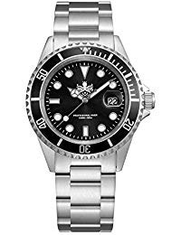 PHOIBOS Taucher Herren Uhr Analog Quarz mit Edelstahl Armband PX002C