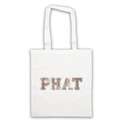 Phat Funny Slogan Tote Bag Bianco
