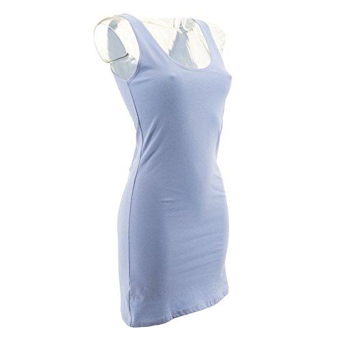 Netgozio 2 Pezzi Miniabito Donna Maxitop Vestito Vestitino Canottiera Vari Colori Nuovi Blu