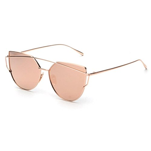 GAXUVI Fashion Twin-Beams Classic Women Metal Frame Mirror Sunglasses Cat Eye Glasses (Rose Gold)