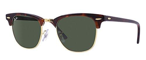 Ray-Ban RB3016 Clubmaster Sunglasses 49mm, Schildkröte Arista / Kristallgrün