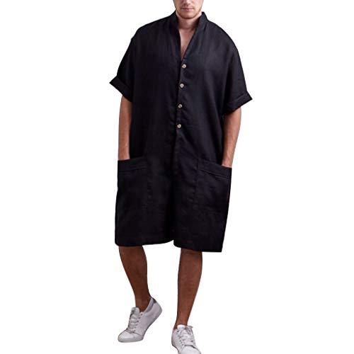 REALIKE Herren Jumpsuit Mode Plain Einfarbige V-Ausschnitt Loose Kurzarmshirt Sommer Freizeit Leinen Taste Hose Männer für Viele Farben Oberteile T-Shirt Bequem Atmungsaktiv Mehrere Größen
