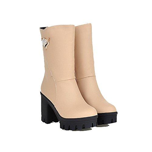 AgooLar Damen Rund Zehe Hoher Absatz Eingelegt Stiefel mit Beschlagene Strass Cremefarben