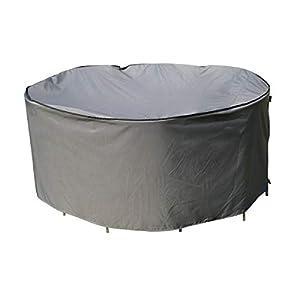 SORARA Schutzhülle/Cover für runden Tisch Set | Grau | Ø 123 x 70 cm (L/W x H) | Wasserabweisend Polyester & PU Coating (UV 50+)| Wettershutz | Regenfest | für Outdoor Garten Möbel