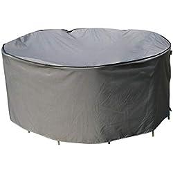 SORARA Housse de Protection Table Ronde   Ø 203 x 90 cm (L/L x H)   Gris   Résistant à l'eau Polyester & Revêtement PU   pour Jardin, Terrasse, Meubles   Qualité