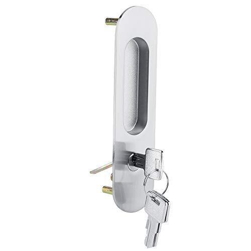 Serrure de porte coulissante avec serrure de porte de sécurité d'alliage d'aluminium de clés pour le matériel en bois de meubles(Silver)