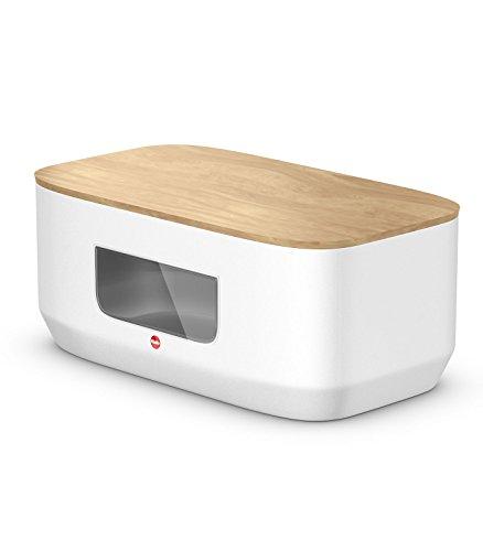 Hailo KitchenLine Design Brotkasten, Korpus aus Stahlblech mit Sichtfenster, Deckel aus Holz als Schneidebrett verwendbar, lebensmittelecht, 0833-980