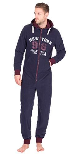 Homme imprimé Combinaison Combinaison Capuche Tout en Un pièce Pyjama Confortable avec Insigne Chaussette Longues - Bleu Marine avec Insinia Salon Chaussette, S/M