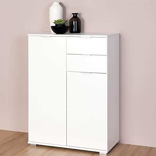 Deuba Kommode Highboard Alba mit 2 Schubladen & 2 Türen 71 x 101 x 35cm Sideboard Anrichte Beistellschrank Holz, Weiß