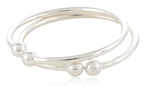 ELOISH 92.5 Sterling Silver Bangles for Baby Boys and Girls – Set of 2