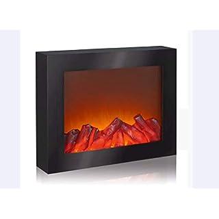 EASYmaxx 03422 LED-Kamin | Wandkamin | Deko-Kamin (Nur Kamin Optik) | Lodernde Flammen | Elektrischer Kamin | OHNE Heizfunktion | Timerfunktion | Kabellos | Schwarz