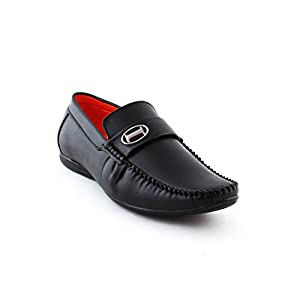 AORFEO Leather look Men Black Casual Loafers Shoes 34