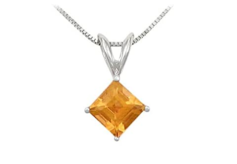 Square Citrine Solitaire Pendant in 14K White Gold 1.00 CT