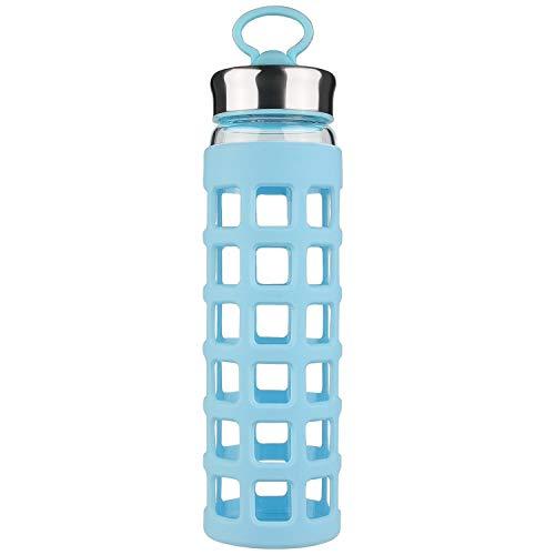 SHBRIFA Sports Glas Wasserflasche 700ml / 1000ml / 1 Liter, Glas Trinkflasche mit Silikonhülle und Mobiltelefonstand Deckel (700ml Blau)