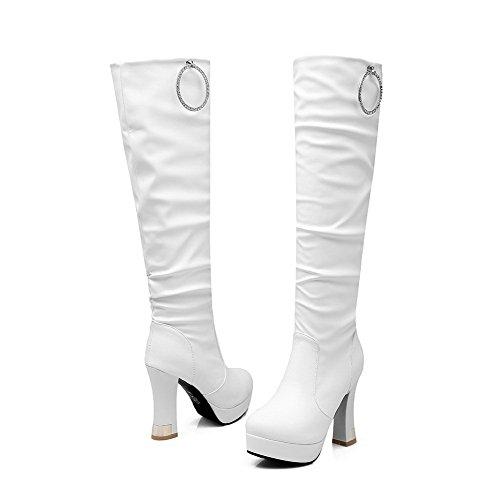 AalarDom Damen Rund Zehe Ziehen Auf Hoher Absatz Hoch-Spitze Rein Stiefel Weiß