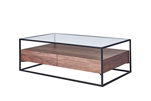 Chicago Beistelltisch (CAGUSTO® Couchtisch Chicago Wohnzimmertisch 120 x 70 x 40 Nussbaum Holz Echtholzfurnier mit schwarzem Metallrahmen und Glas-Ablage, Industrie Design, inkl. Zwei Schubladen)